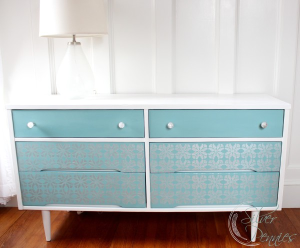 A Mid Century Stenciled Dresser by Finding Silver Pennies