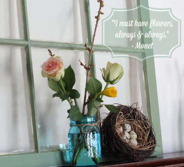 Flowers Aren't Optional (Spring Mantel 2014)