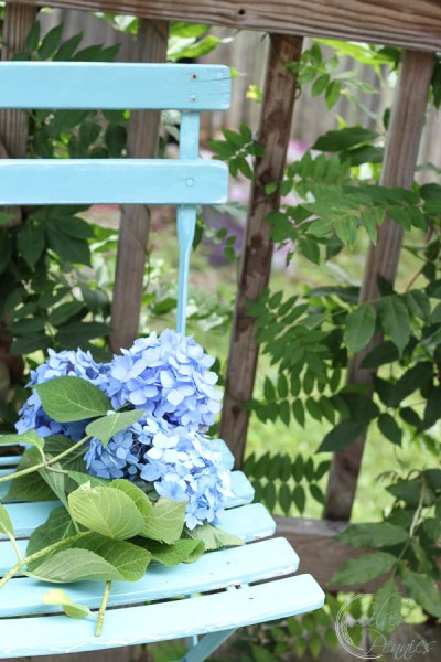 Painted Chippy Chair and Hydrangea