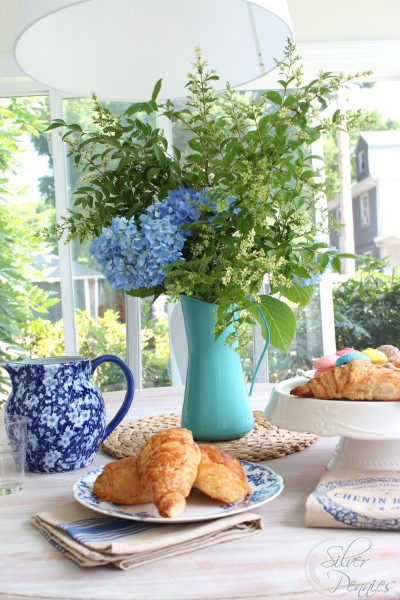 Brunch is made even more special with hydrangeas clipped from the garden!