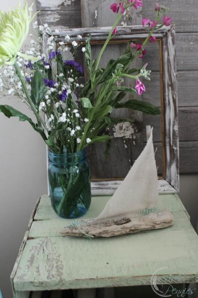 Driftwood Boat Fresh Flowers