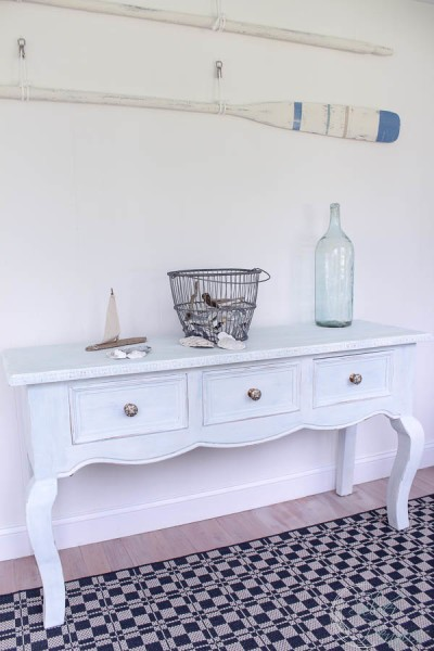 Painted Pine Console with Oars