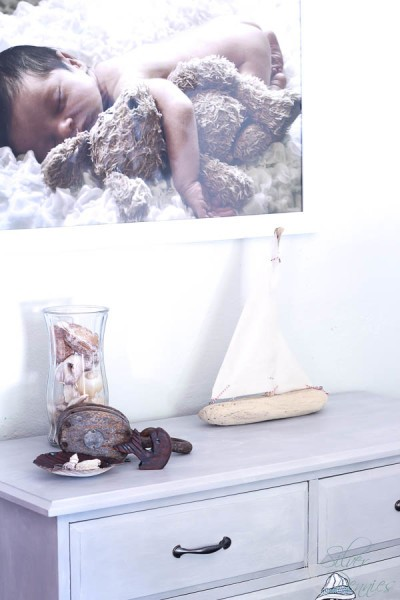 Coastal Vignette with Driftwood Sailboat