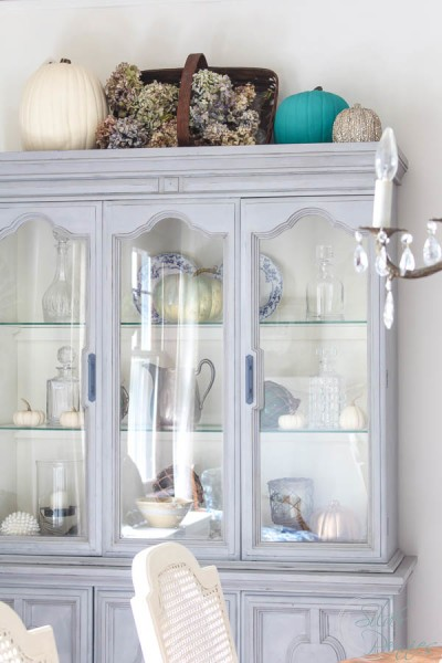 Chalk Paint Hutch with Pumpkin and Hydrangea