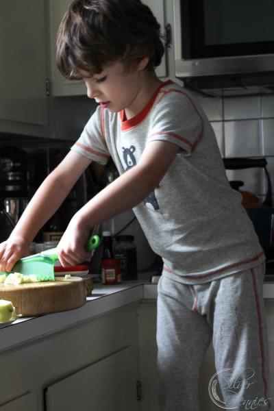 Conor slicing apples