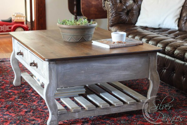 restoration hardware inspired coffee table (before & after