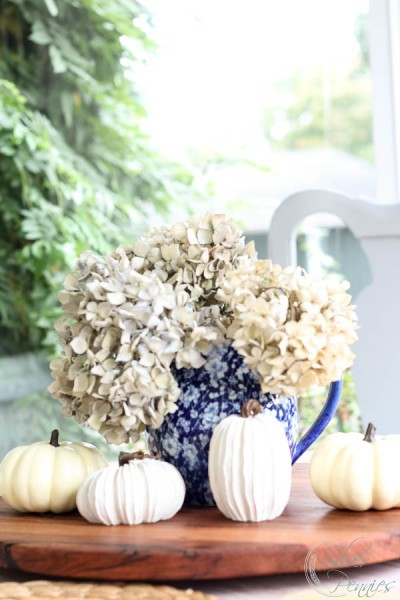 White Pumpkins and Pale Hydrangeas