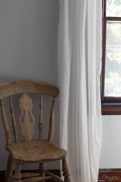 Antique English Chair with floating curtains