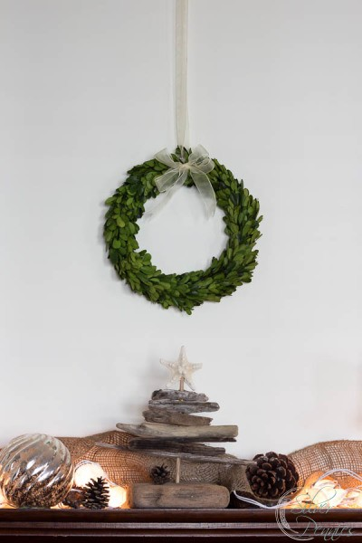 Boxwood Wreath and Coastal Mantel