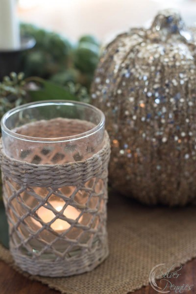 Candlelight and glitter pumpkin