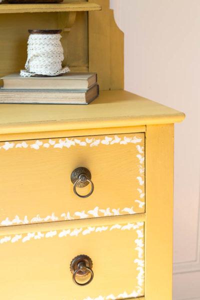 Drawer Detail on Mustard Yellow Dresser