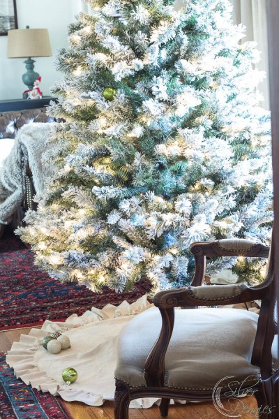 No Sew Drop Cloth Tree Skirt - Finding Silver Pennies