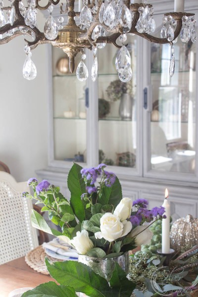 Fresh Flowers and Crystal Chandelier