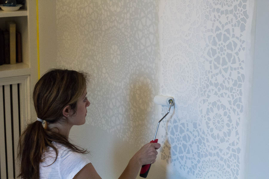 How To Stencil A Wall Finding Silver Pennies