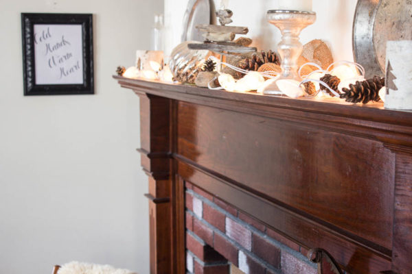 Winter Mantel with Shell Lights
