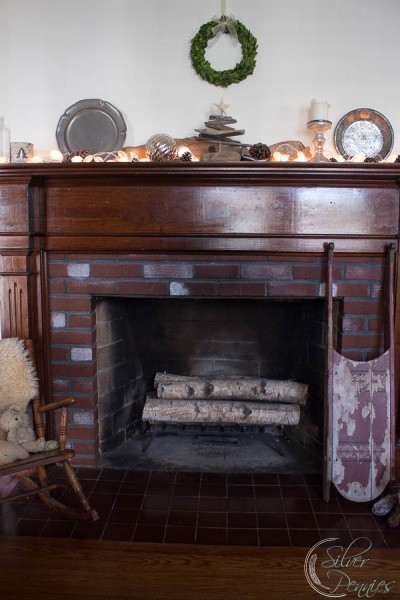 Winter Mantel with Vintage Items