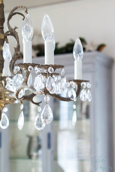 Brass and Crystal Chandelier at Christmas