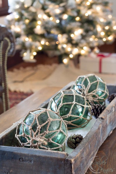 Coastal Centerpiece with Christmas Lights