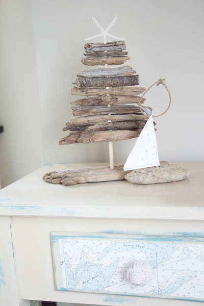 Driftwood boat on Nautical Console Table