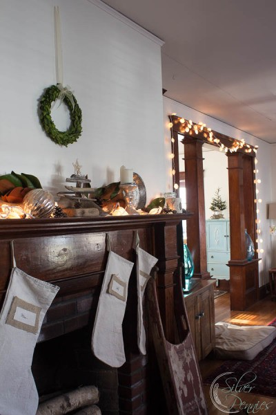 Living Room with Mantel for Christmas