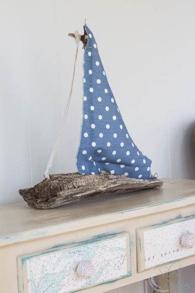 Nautical Table and Driftwood Boat