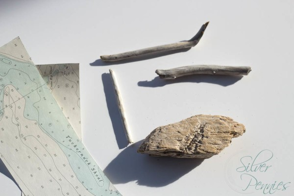 Supplies for driftwood boat ornaments