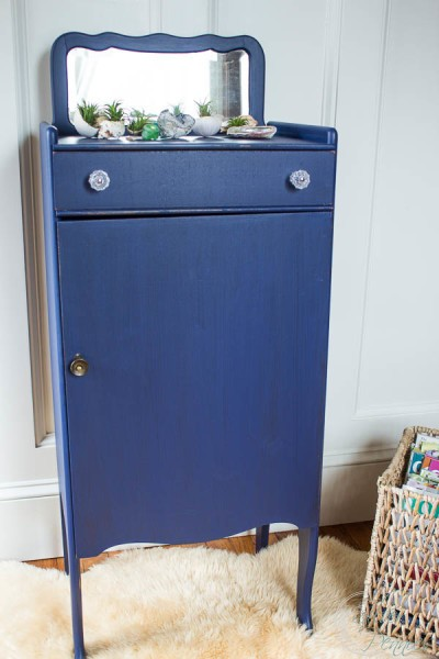 Navy Blue Record Cabinet