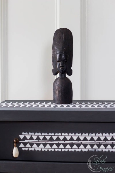 African Head with Stenciled Drawer