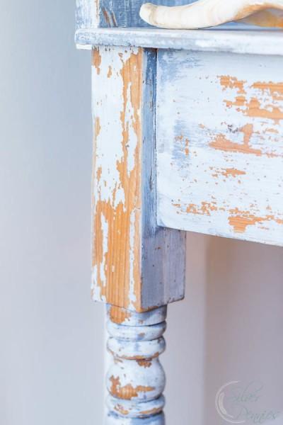 Chippy Paint on Dressing Table Leg