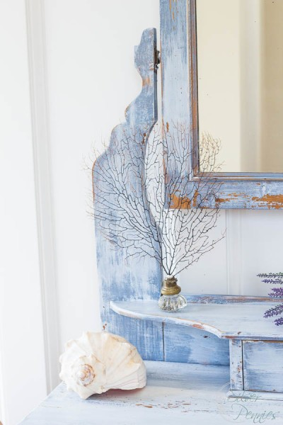Chippy Vanity with Sea Fan and Shell