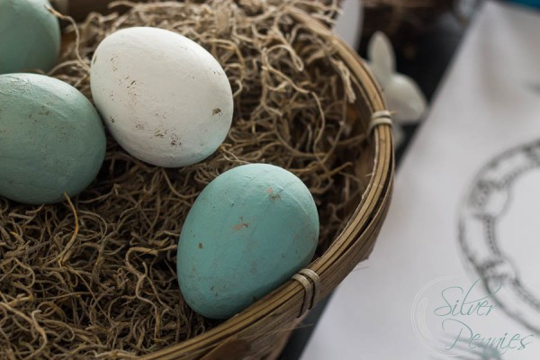 Painted Eggs in Basket