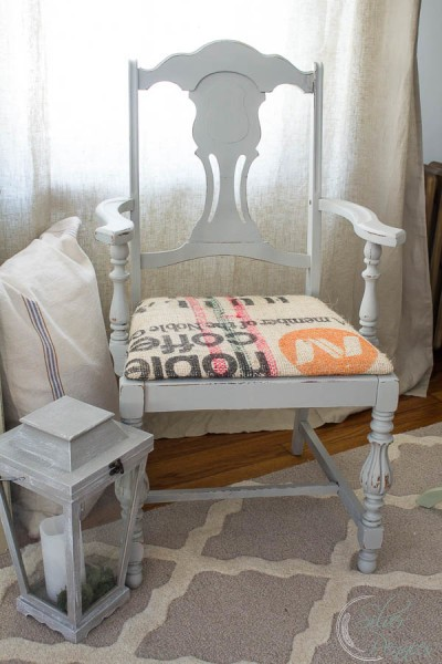 Upholstering a Chair with a Coffee Sack