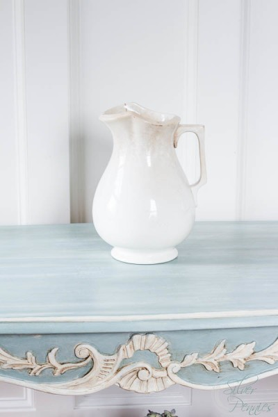White Pitcher and Duck Egg Blue Paint