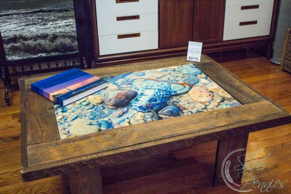 Rustic Coffee Table with Kjeld Mahoney Lobster Print
