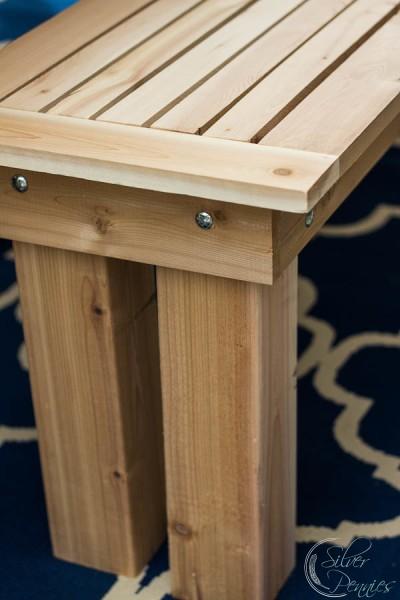 Close Up White Cedar Bench