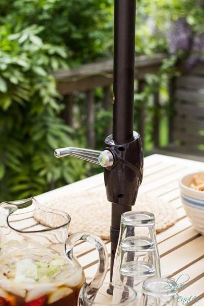 Easy to use Crank on Sunbrella Umbrella from Birch Lane