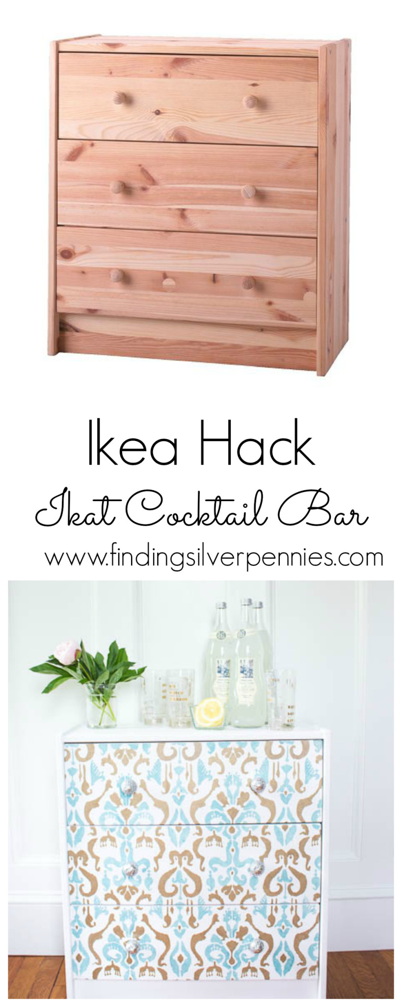 Ikea Hack Ikat Cocktail Bar by Finding Silver Pennies