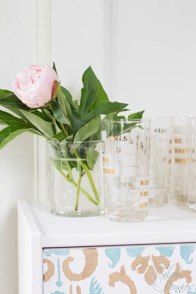 Peony and Cocktail Glasses