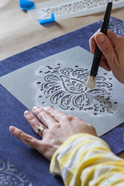 Stenciling a Placemat