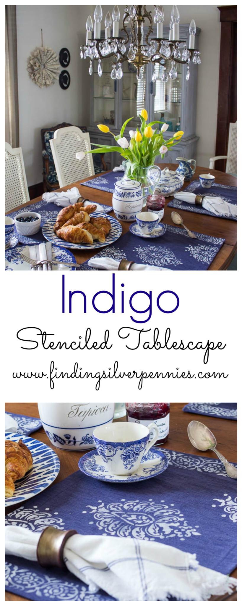 indigo stenciled tablescape