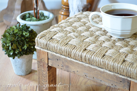 using twine to make a footstool