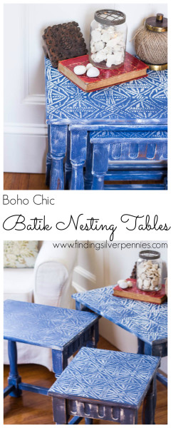 Boho Chic Batik Nesting Tables by Finding Silver Pennies
