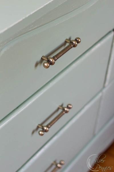 Brass Hardware on pretty mint dresser