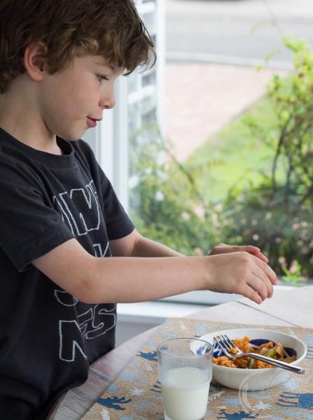Conor enjoying Mexican Shrimp
