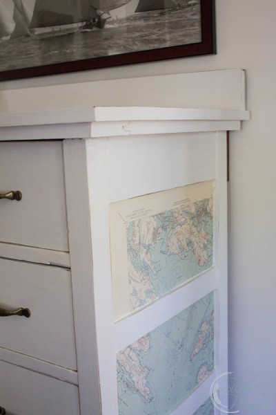 Decoupaged Map Dresser Side