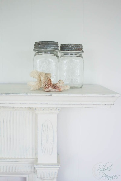 Mason Jars Coral and a Vintage Mantel