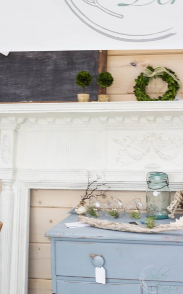 Mantel and chippy gray table