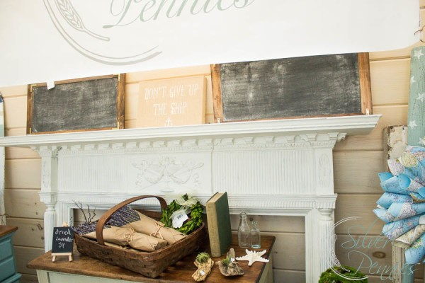 Mantel and handmade chalkboards