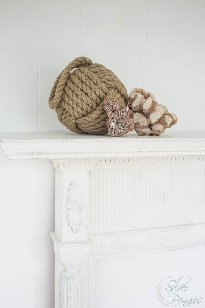 Monkey Fist and Coral on Chalk Paint Mantel