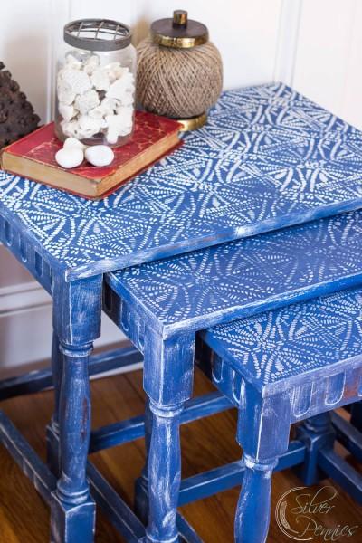 Napoleonic Blue Chalk Paint Tables with Batik Stencil